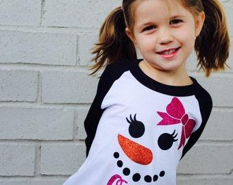Personalized Glitter Snowman Raglan, Matching Family Christmas Shirts, Christmas Pajamas - Toddler, Youth & ADULT sizes