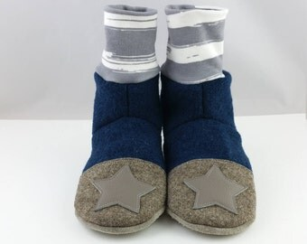Slippers Gr. 32/33,Kinderschuhe, slippers made of wool felt, kindergarten, shoes, kids slippers, shoes with cuffs, shoes made of wool