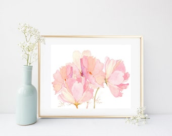 Printable Women Gift, Pink Flower Print,  Art Print, Printable Art, Floral Art Print,  Instant Download, Flower Wall Art, Home Decor