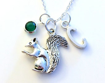 Squirrel Necklace, Gift for Chipmunk Jewelry Chip Munk Animal Silver charm Initial Birthstone present Short Long Chain Sterling Girl Woman