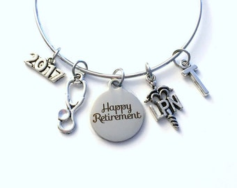 Retirement Gift for Women LPN Nurse, 2016 2017 or 2018 Charm Bracelet Jewelry Silver Bangle Coworker Head initial LPN initial Present woman
