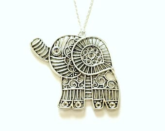 Large Elephant Pendant Necklace, Animal Jewelry, Silver Charm Pewter Birthday Gift Present Long Short 925 Sterling Chain Tibetan Filigree