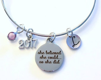 High School Graduation Gift for Achievement, 2017 2018 She believed she could so she did, Job promotion Customized Jewelry, Bracelet Silver
