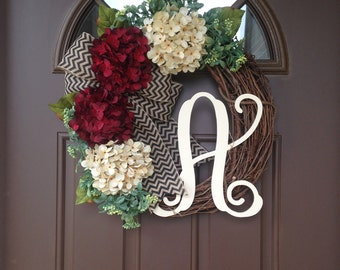 Rustic Red Hydrangea Door Wreath- Year Round Wreath for Front Door- Monogram All Season Wreath- Front Door Wreath with Initial- Gift