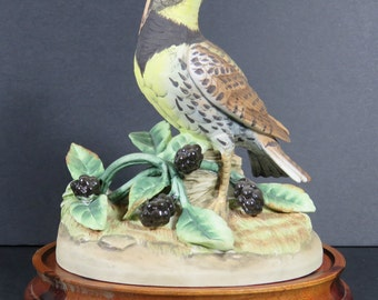Andrea by Sadek Bird Figurine Meadow Lark Hand Painted Ceramic Japan with Stand