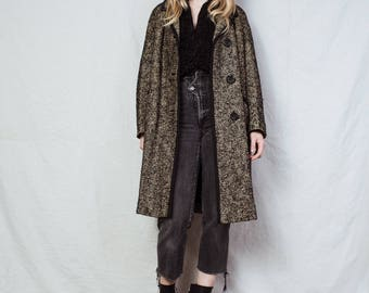 AMAZING Vintage Oversized Black and Beige Boucle Coat / S / jacket retro hipster wool overcoat with black trim