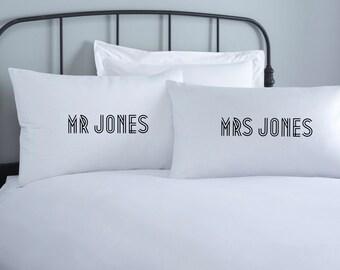 Wedding Pillowcases - Anniversary Gift - Personalised Wedding Gift - Engagement gift - Anniversary Present - Personalized Wedding Pillows