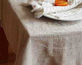 Linen tablecloth from washed natural flax grey linen - rustic tablecloth, undyed linen dropcloth - custom table cloth - table linen