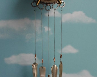 Copper and Brass Flying Pig with Silver Plate Chimes