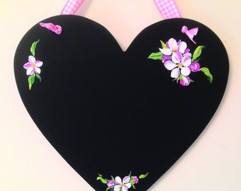 Heart-shaped chalkboard with hand painted apple blossom