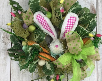 ON SALE Easter Wreath, Easter Wreath, Cabbage Patch Decor, Deco Mesh Easter Wreath, Wreath for Easter, Wreaths, Mesh Wreath for Easter