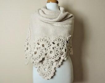 Cream Wedding Shawl, Crochet Shawl, Bridal Stole, Wedding Wrap, Knitted Shawl, Fall Wedding, Rectangular Shawl, Winter Wedding
