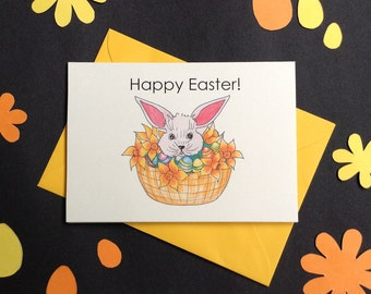Set of 5 mini Happy Easter Cards.Easter Bunny.Hand Made Greeting Cards.Original Illustration.Hand Drawn Illustration.Easter Cards.