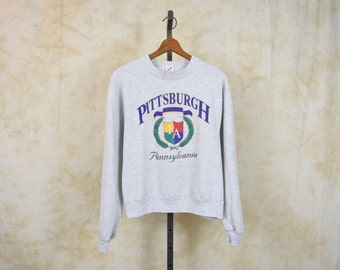 Pittsburgh Sweatshirt 80s Pennsylvania Shirt Retro Slouchy Pullover Gray Sweater 1980s Graphic Travel Grey Vintage Small