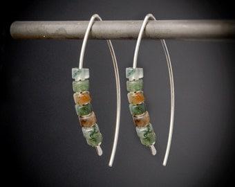 Sterling Silver Earrings, Modern Jade Earrings, Sterling Silver and Stone, Natural Earrings, Jade Sterling Threader, Recycled, Leaf Earrings