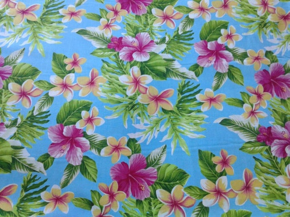 Blue Hawaiian Fabric Multi Color Floral Print Pink Yellow Aqua Tropical Flowers Island Hula Or Aloha Shirt 100 Cotton From