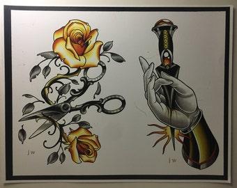 Rose and Dagger painting