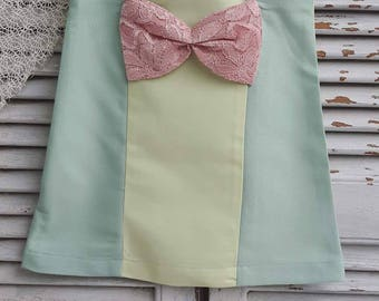 Formal Vest-Top Girl Dress on Pastel Colors with a Bow