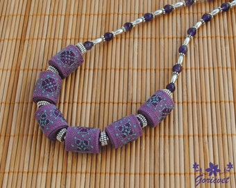 Amethyst necklace Bib necklace purple jewelry gift for women Fabric necklace embroidered jewelry Boho necklace statement wife purple gift