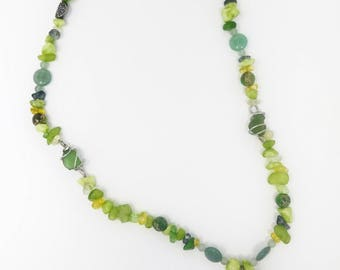 Green beaded necklace with Lake Erie beach glass with aventurine, amanzonite, serpentine, quartz gemstones and silver tone frog