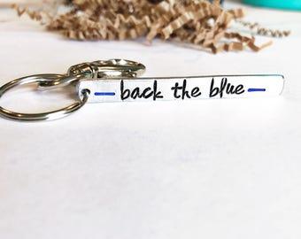 Back The Blue Keychain - LEO Keychain - Police Wife - Thin Blue Line Keychain -Police Support