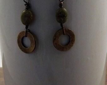 Autumn Jasper and Copper Earring