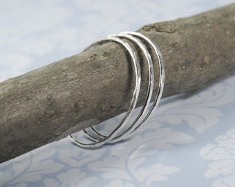 Stacking Rings, Set of 3 Super Thin Rings, Sterling Silver Ring, Ultra Thin Ring, Dainty BOHO Midi Ring