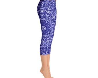 Capris - Mid Rise Navy Blue Leggings, Yoga Pants, Yoga Leggings, Mandala Printed Leggings, Patterned Yoga Tights