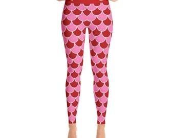 Valentine's Day Mermaid Leggings - Red and Pink Yoga Pants, Dragon Scales, Mermaid Scales, Fish Scales, Leggings Tights
