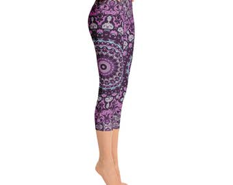 Capri Funky Workout Pants - Unique Yoga Leggings, Wild Purple Mandala Leggings, Mandala Pants, Yoga Pants