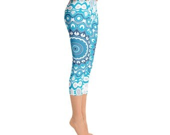 Capris - Leggings Yoga Blue and Gray Printed Leggings, Mandala Yoga Pants, Boho Yoga Tights, Art Leggings, Womens Stretch Pants