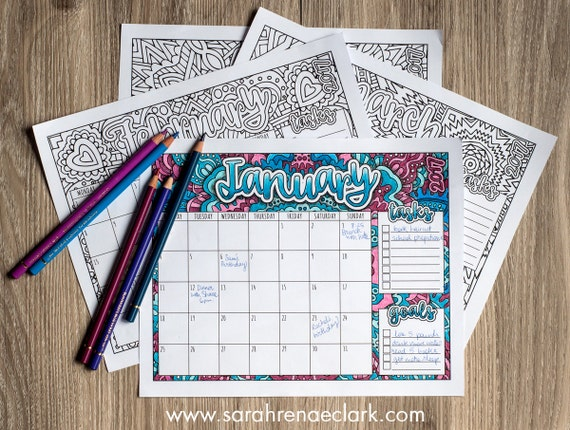 Printable 2017 Calendar Coloring Pages