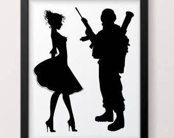 Girl and Army boy SVG; barbie svg; army boy svg; army svg