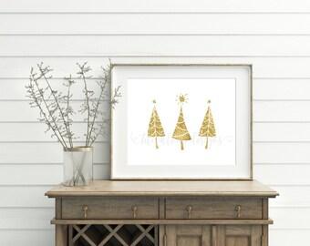 Christmas printable decoration, Christmas Sign, Christmas wall decor, Gold Glitter Christmas Tree Print, Gold Christmas Decor, 8x10, Digital