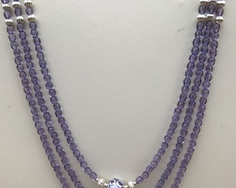 Violet Glass Bead Multistrand Necklace