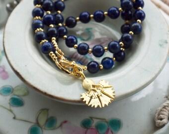Lapis lazuli necklace, Blue lapis necklace, Gold toggle necklace, Ancient egyptian jewelry, Byzantine necklace, Roman jewelry, Flower charm