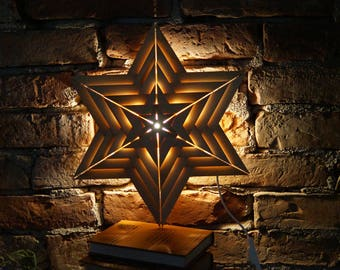 Swedish Wall Sconce Night Light Handmade wall lamp Christmas wooden lamp Advents lighting Rustic Holiday lighting Scandinavian wood star