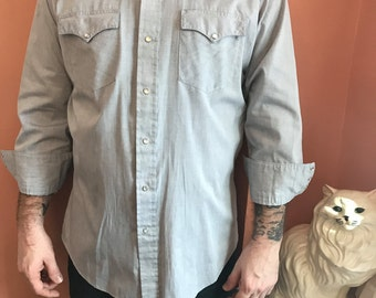 80s Western Shirt, Gray, Cowboy, Snap Button Down  (B442)