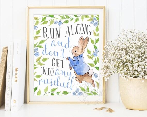 Peter rabbit nursery wall art nursery decor peter rabbit - Peter rabbit nursery border ...