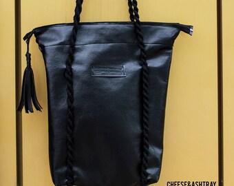 Black leather tote vegan women bag shopper large market purse handbag diaper zip oversize work laptop