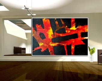 Abstract XXL Black &  Red yellow large contemporary art handpainted heavy texture modern canvas acrylics painting