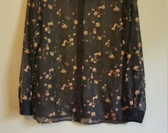 sheer floral button down 90s black xs s m