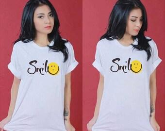 HARAJUKU Smile Face Summer Kawaii Black and White
