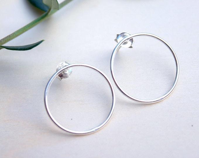 Hoop earrings, silver hoop earrings, hoop stud earrings, hoop earrings for her, folk hoop earrings, bohemian earrings, earrings for gift