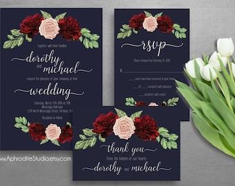 Printable wedding invitation set - Wedding invitation suite - Digital wedding invitation - Navy marsala wedding invitation Botanical wedding