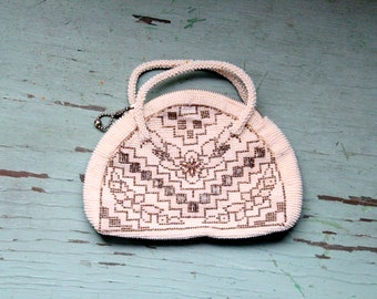 Vintage 60's Beaded Purse - White and Silver