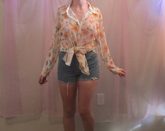 90s sheer LONG SLEEVE / sunflower floral top / white yellow / size small medium large / see description