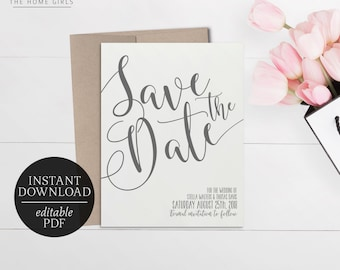 Printable Save The Date Calligraphy Invitation | Grey | Editable Template | Wedding | Save the Date Template | Modern | Gray | Stella
