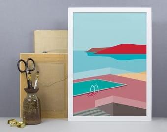 Mediterranen Sea & Pool Print - A3, A4 Size - Beach Wall Art - Summer Art - Tropical Decor - Holiday Sea Picture - A3 Poster
