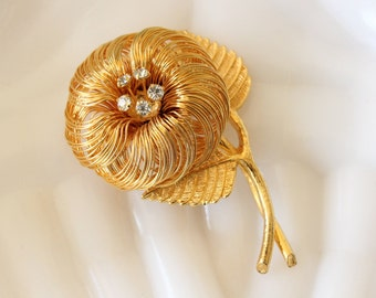 Vintage Wire Flower Brooch Pin with Clear Rhinestones Gold Tone
